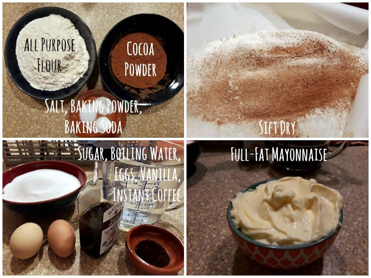 collage showing all the ingredients for the chocolate mayonnaise cake