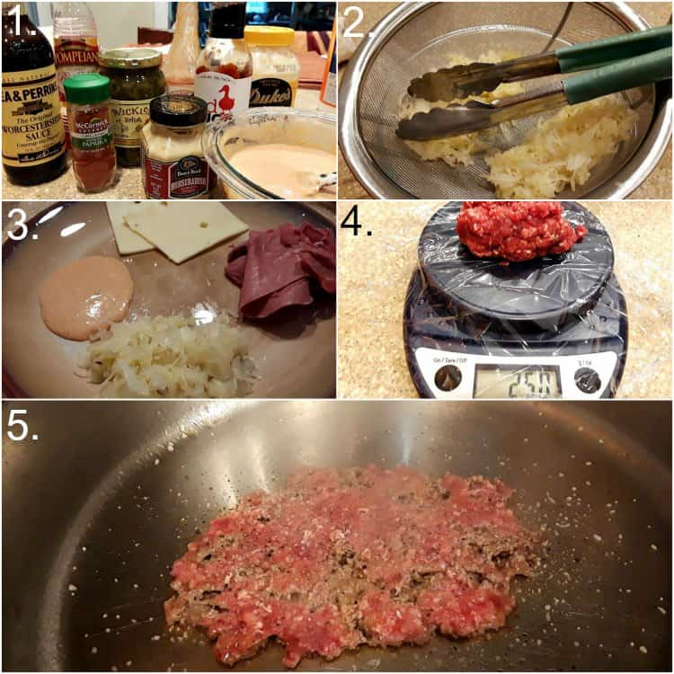 collage of five photos showing how to make the Russian dressing, drain the sauerkraut, scale and smash the burgers