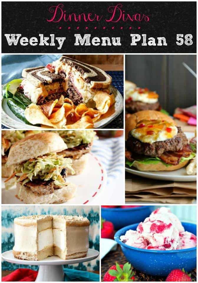 long vertical collage of the different dishes for this week's meal plan including 3 burgers, ice cream, and layer cake.