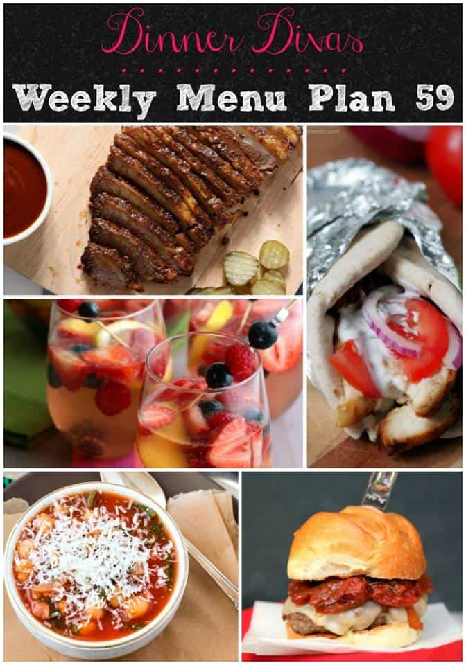 vertical collage of recipe photos from this week's Dinner Divas weekly meal plan menu
