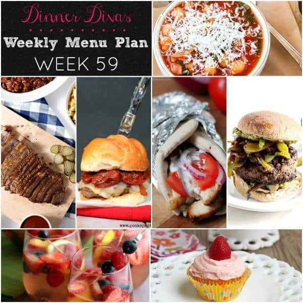 square collage of all the recipe photos for the weekly meal plan