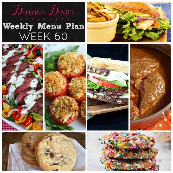 square collage of our weekly meal plan post for week 60