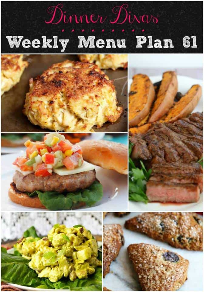 portrait oriented collage of the dishes from our weekly meal plan, week 61