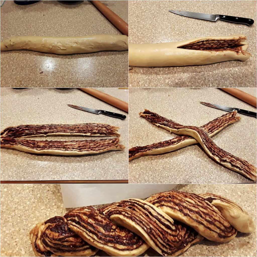 collage of showing how to roll up the dough, cut it into two pieces, longwise, and twist the two pieces together.