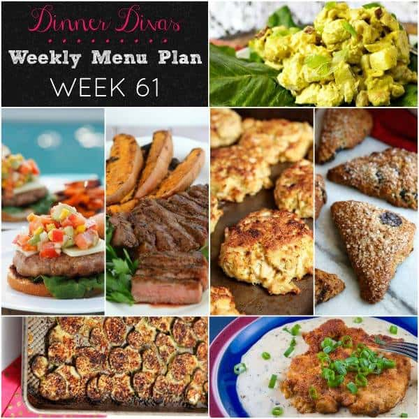 square collage image of the dishes from our weekly meal plan, week 61