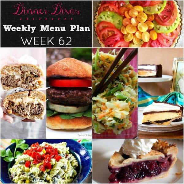 square collage of the dishes in the Dinner Divas weekly meal plan post.