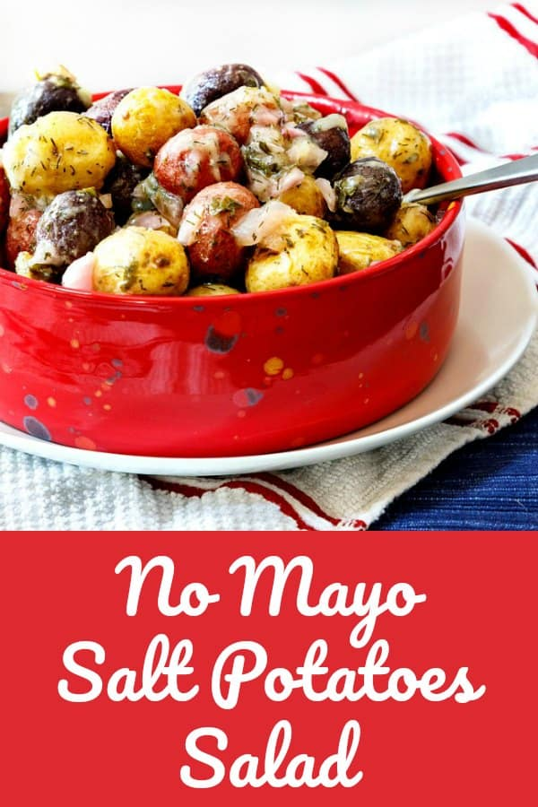 This no mayo potato salad is picnic perfect, and it's also Whole 30 compliant. The ghee is an unexpected touch and is also traditional for eating salt potatoes. #picnicfood #potatosalad #whole30 | pastrychefonline.com