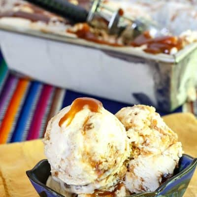 Caramel Cinnamon Roll Ice Cream (No Churn) for #SummerDessertWeek
