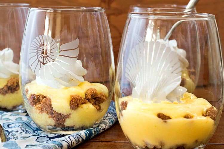 four key lime pie parfaits in glasses