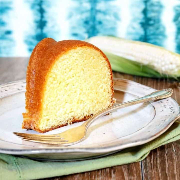 square image of a slice of buttermilk pound cake on a plate