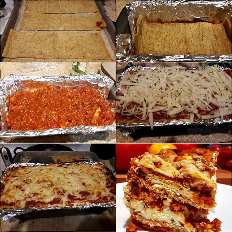 collage of 6 photos showing baked cauliflower noodles, layering, and baking the lasagna