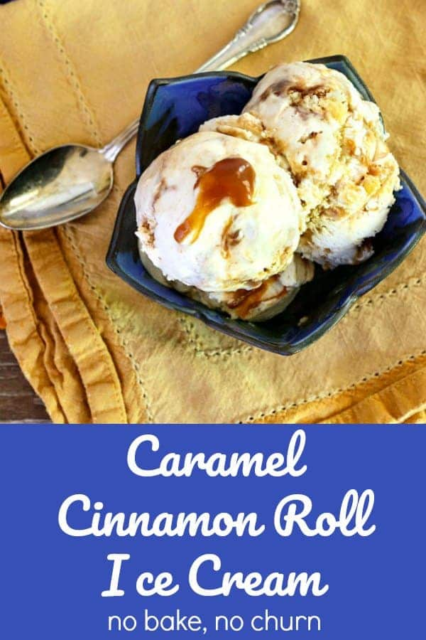 This no churn caramel ice cream for #SummerDessertWeek is loaded with pieces of caramel cinnamon rolls and swirled with cinnamon caramel sauce. A fantastic no churn ice cream! #nochurn #icecream | pastrychefonline.com