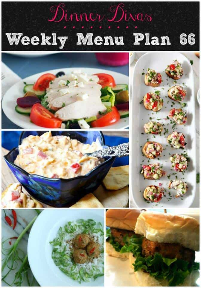 Dinner Divas weekly meal plan for Week 66 brings you two delicious spins on the Greek salad, tasty Thai turkey meatballs, little sliders with big flavor, a yummy summer panzanella, cupcakes and pimento cheese. Grab these easy recipes to make your menu planning easy! #easyrecipes #menuplan #mealplan