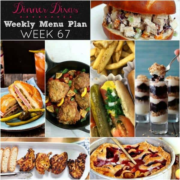square collage for weekly meal plan. Text reads Dinner Divas Weekly Menu Plan Week 67