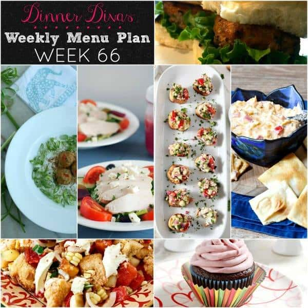 square collage for our weekly meal plan. Text reads Dinner Divas Weekly Menu Plan Week 66