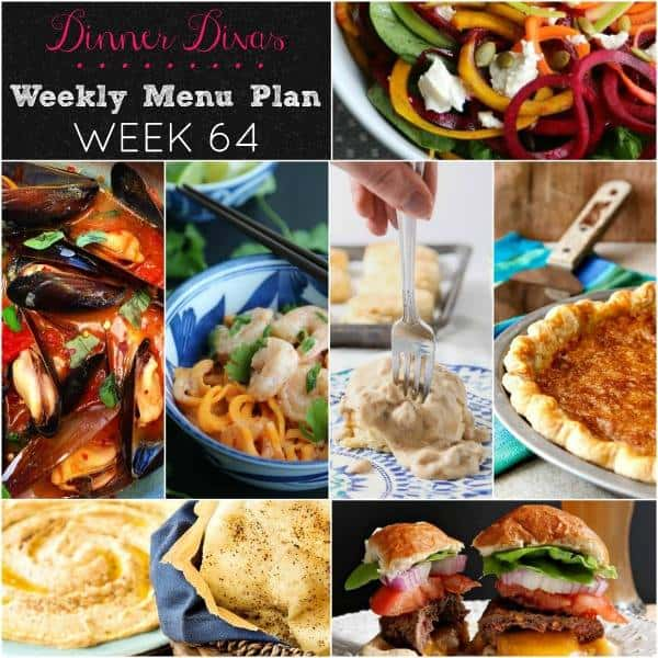 square collage for the Dinner Divas weekly meal plan for week 64