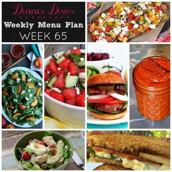 dinner divas weekly meal plan post, square collage. Text reads Dinner Divas Weekly Meal Plan Week 65