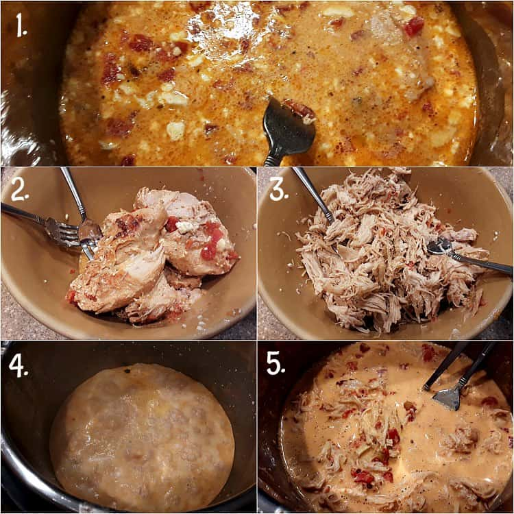 collage showing instant pot crack chicken after cooking and shredding the chickeen