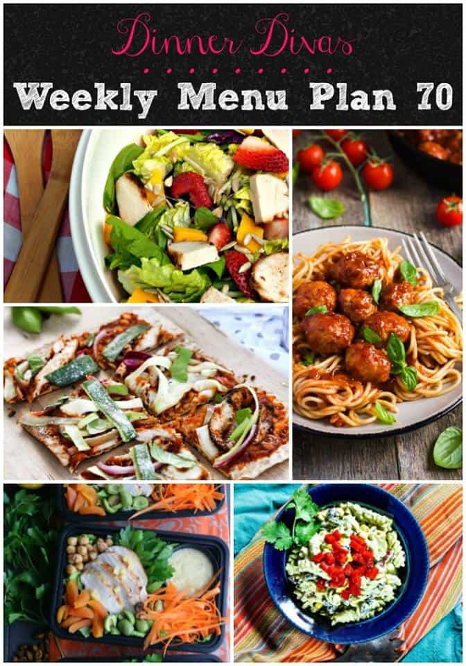vertical collage image for weekly meal plan for week 70