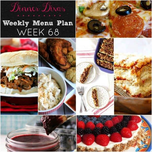 weekly meal plan square image collage of photos of all 7 recipes. Text reads Dinner Divas Weekly Menu Plan Week 68
