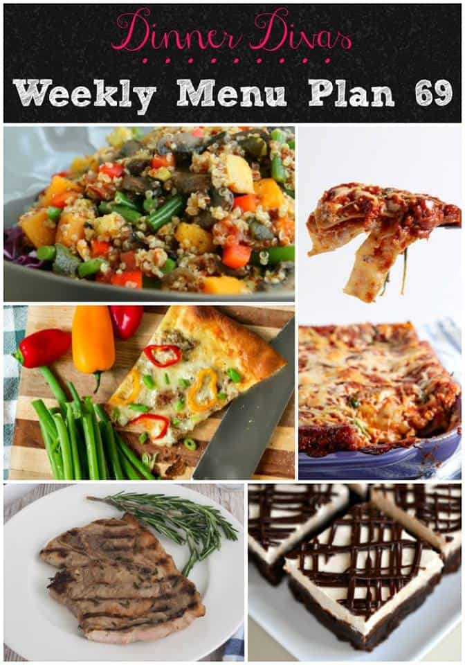 vertical collage of five photos of food from our weekly meal plan. Text reads Dinner Divas Weekly Menu Plan 69