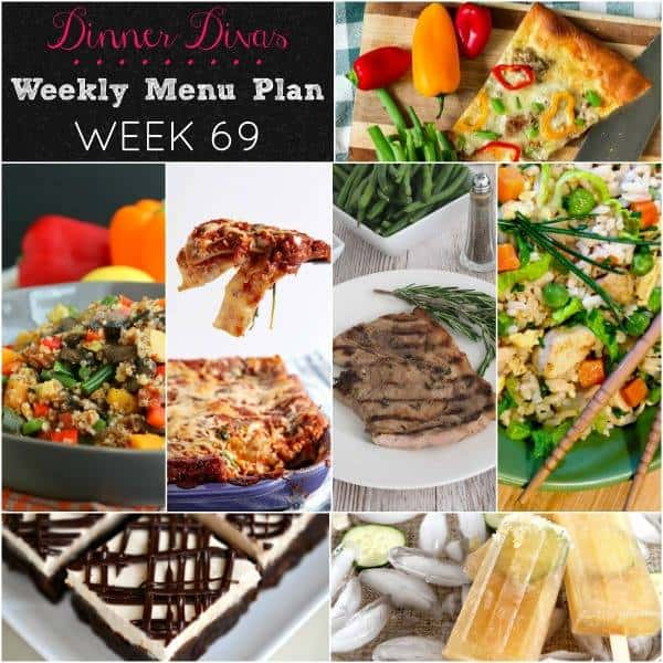 square collage of the recipes for our weekly meal plan post. Text reads Dinner Divas Weekly Munu Plan Week 69