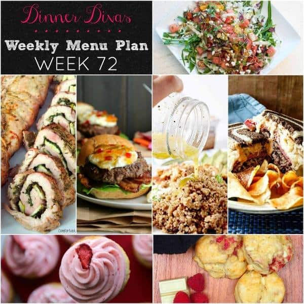 "square collage image for weekly meal plan 72. Text reads ""Dinner Divas Weekly Menu Plan Week 72"""