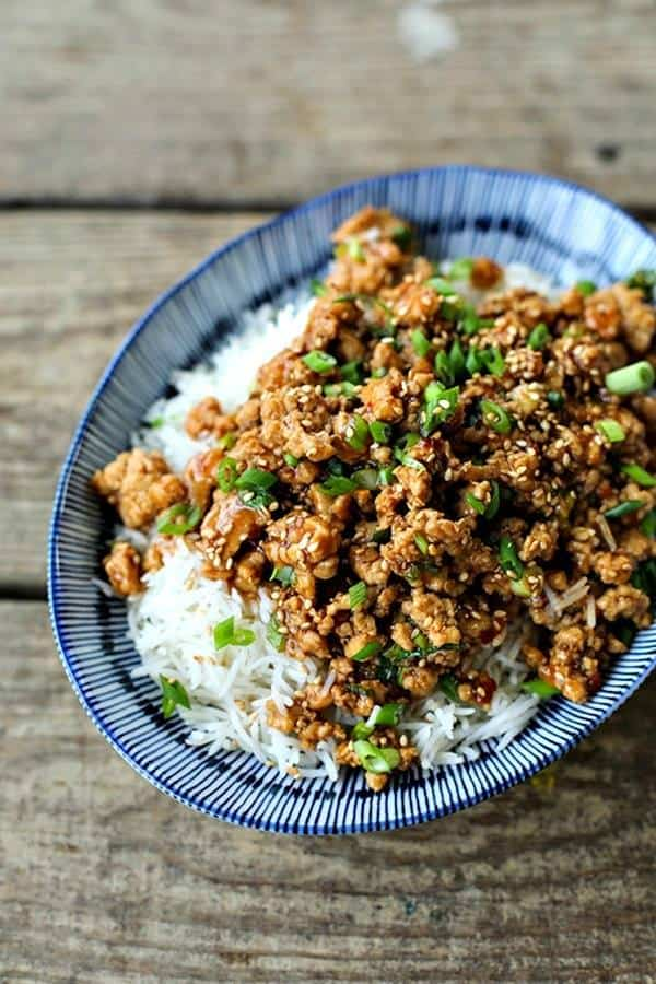 dish of ground chicken sesame chicken over rice