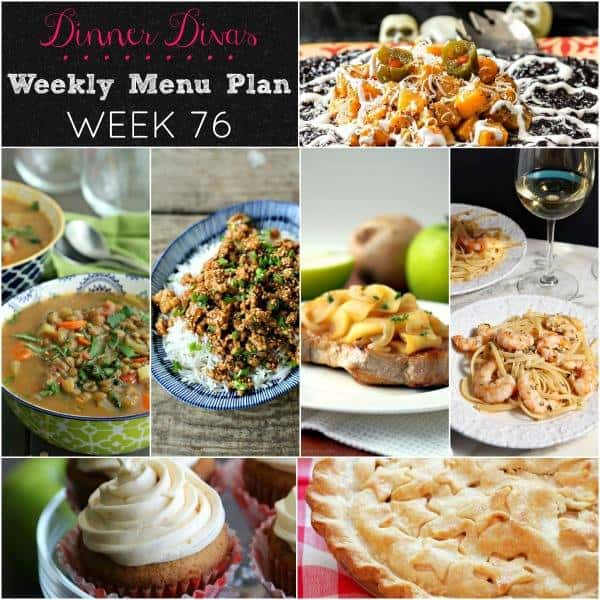 square collage image for our weekly meal plan. Text reads Dinner Divas Weekly Menu Plan Week 76
