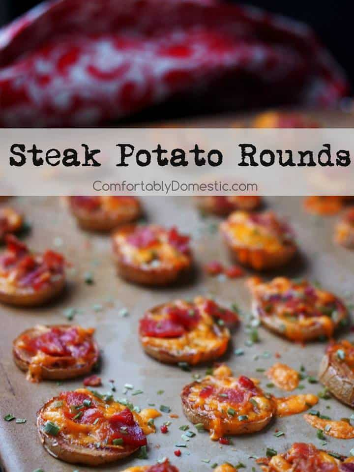 discs of potato on a baking sheet with cheese and bacon. Text reads: Steak Potato Rounds comfortablydomestic.com
