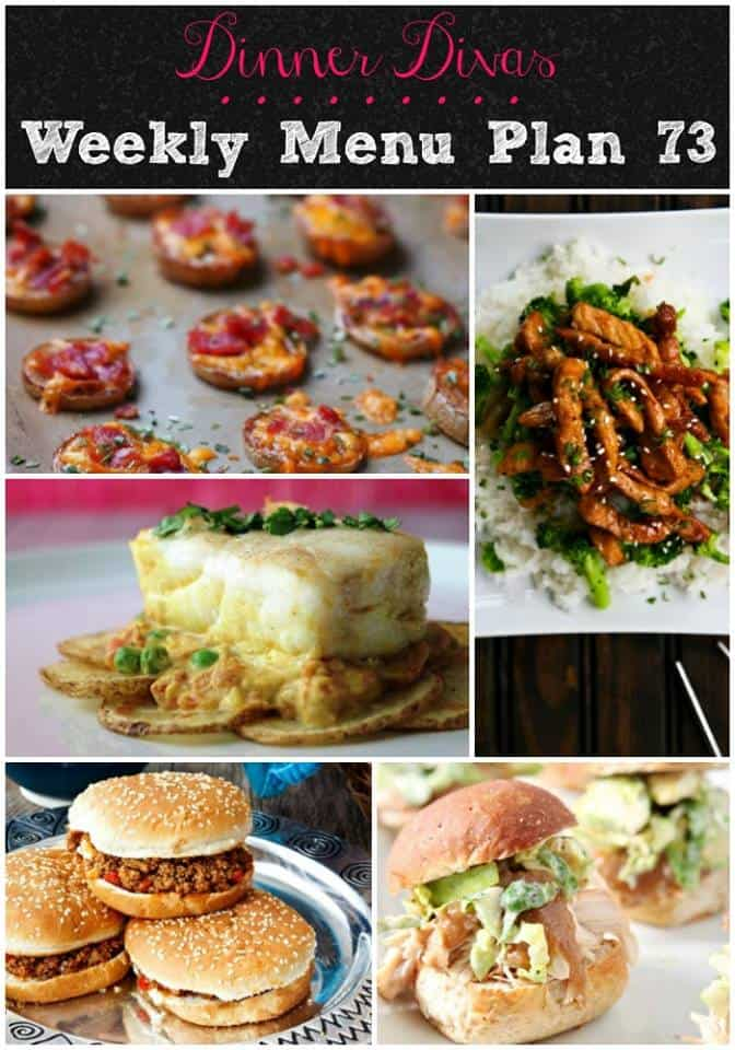 vertical pin image for our weekly meal plan posts. Text reads: Dinner Divas Weekly Menu Plan 73