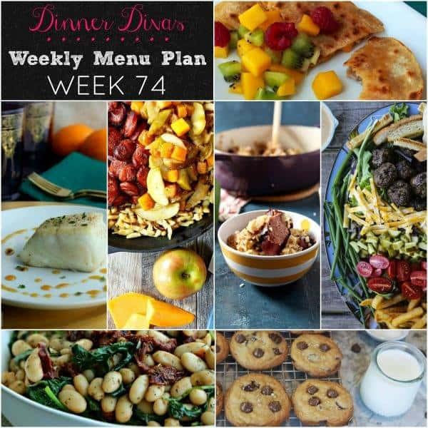 weekly meal plan square collage. Text reads Dinner Divas Weekly Menu Plan, Week 74