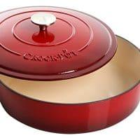 Crock Pot 112000.02 Artisan 5 Quart Enameled Cast Iron Braiser Pan, Scarlet Red