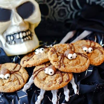 Malted Milk Ball Spider Cookies for Halloween
