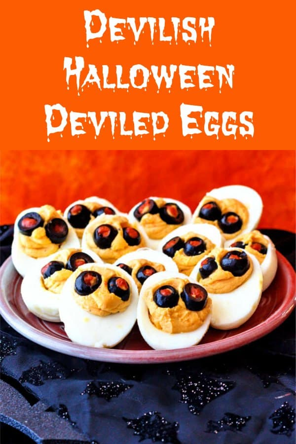 No Halloween appetizer spread is complete without some devilishly cute and delicious Halloween deviled eggs. These are spiked with Sriracha, horseradish, and garlic. If you're feeling saucy, add some finely minced crisp bacon, too. So good! #deviledeggs #halloweentreatsweek #ad   pastrychefonline.com