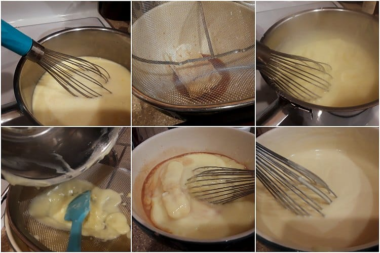 6 image collage of making pastry cream for eclair dessert
