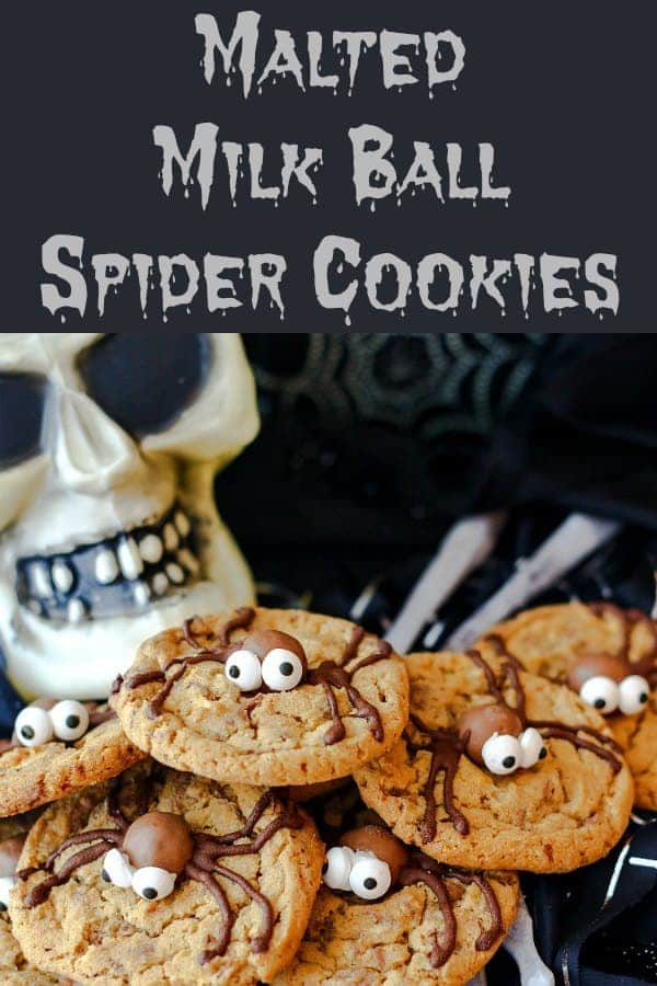 If you're a fan of chocolate chip cookies but are looking to give them a Halloween makeover, you'll love these spider cookies made with chopped malted milk balls both in the dough ans as the
