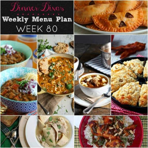 weekly meal plan square collage image text reads Dinner Divas Weekly Menu Plan Week 80