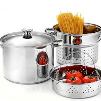 Cook N Home 02401, Stainless Steel 4-Piece 8 Quart Pasta Cooker Steamer Multipots, 8QT