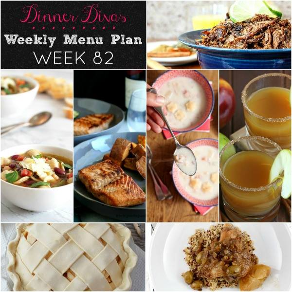 weekly meal plan square collage of recipe images. Text reads Dinner Divas Weekly Menu Plan Week 82