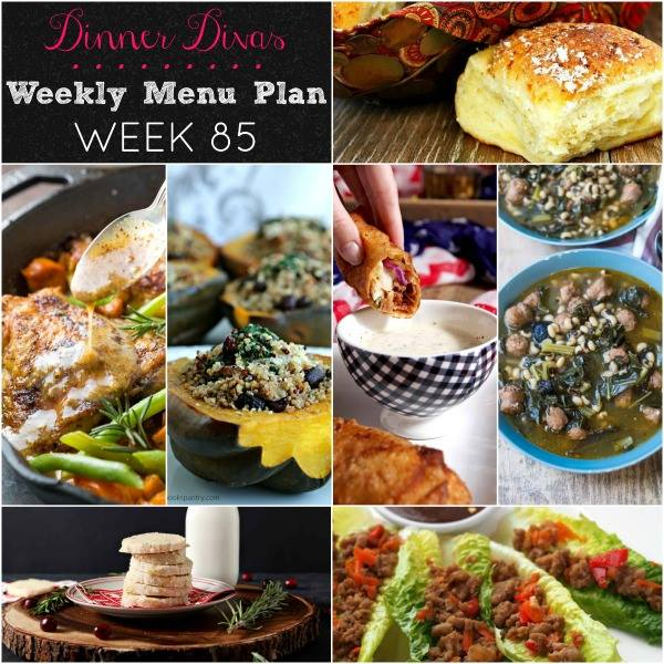 weekly meal plan square image text reads Dinner Divas Weekly Menu Plan Week 85