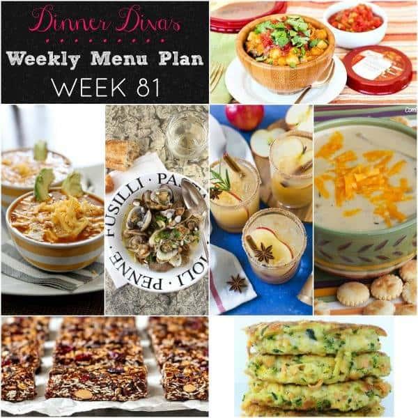 weekly meal plan square image collage. Text reads Dinner Divas Weekly Menu Plan Week 81