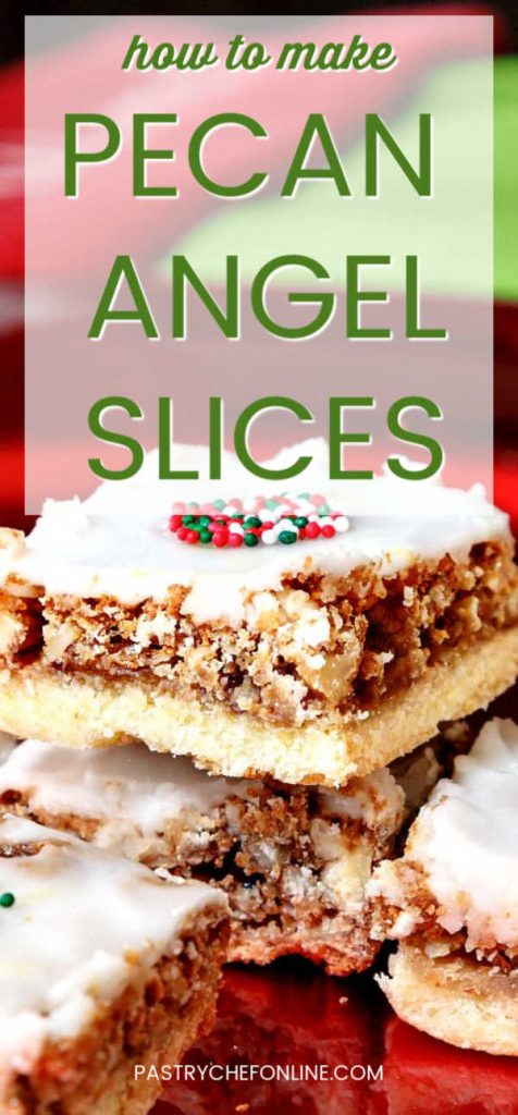 vertical image of 3 bar cookies with white glaze text reads how to make pecan angel slices""