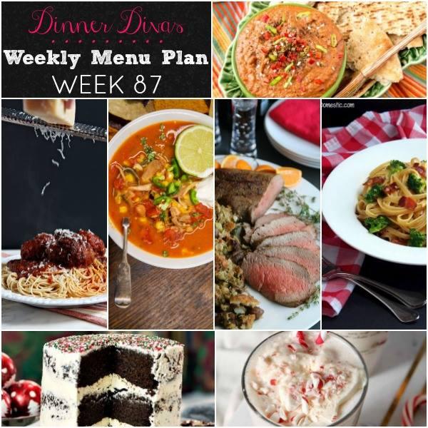 weekly meal plan square image collage. Text reads Dinner Divas Weekly Menu Plan Week 87