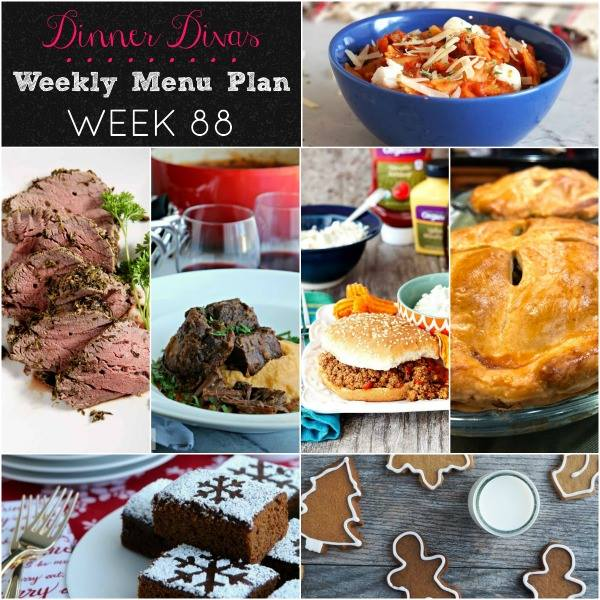 weekly meal plan collage post with photos of all the recipes. Text reads Dinner Divas Weekly Menu Plan Week 88