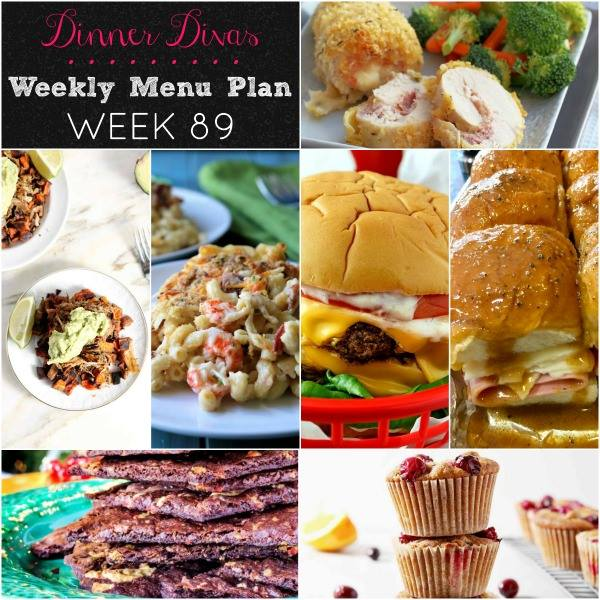 weekly meal plan collage of recipe images. Text reads Dinner Divas Weekly Menu Plan, Week 89