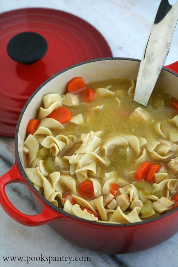 Red soup pot full of chicken noodle soup with carrots