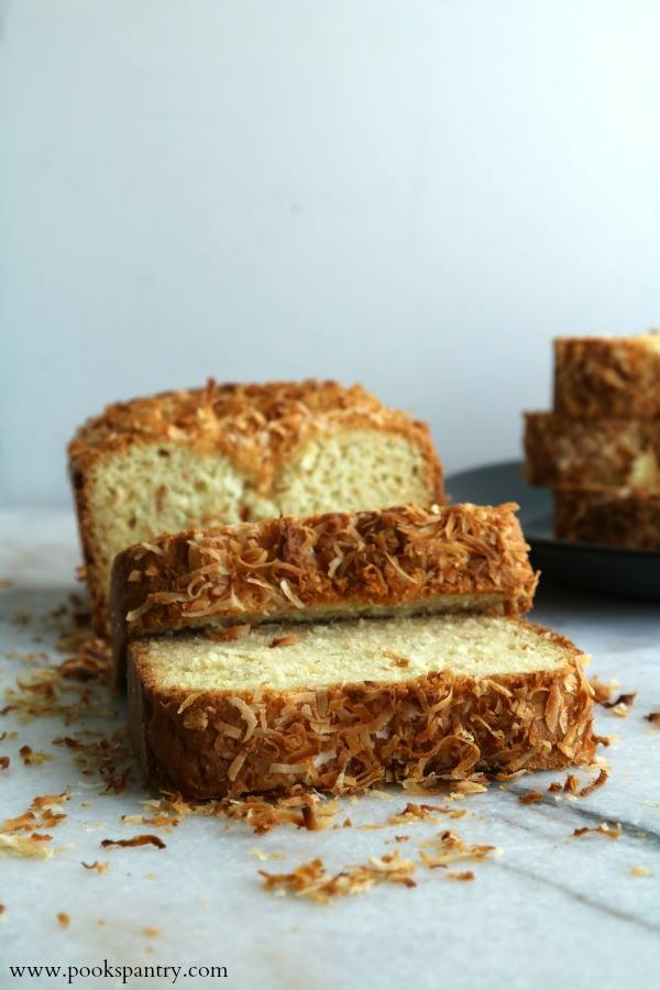 sliced coconut topped pound cake