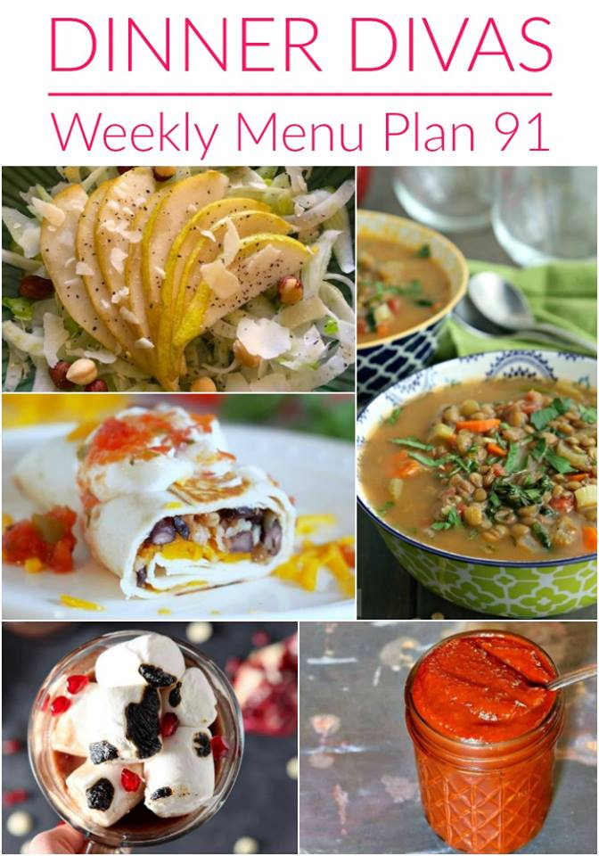 collage of the dinner divas weekly meal plan recipe photos. Text reads Dinner Divas Weekly Menu Plan 91