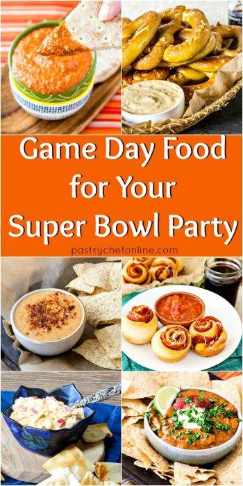 collage of super bowl snacks text reads game day food for your super bowl party